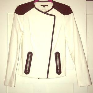 White HugoBoss jacket with Black Leather Trim